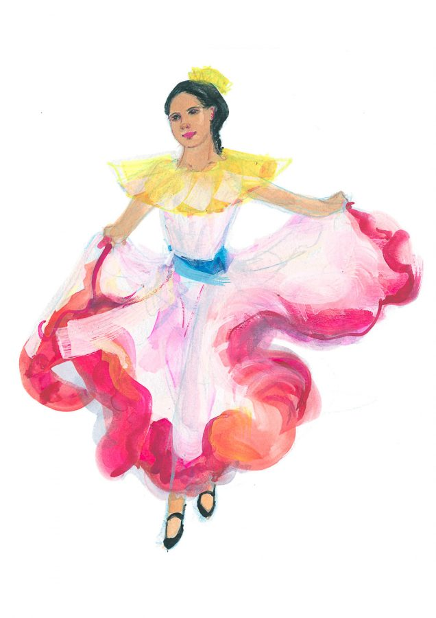 World Dance Illustration of Joropo, Venezuelan dance