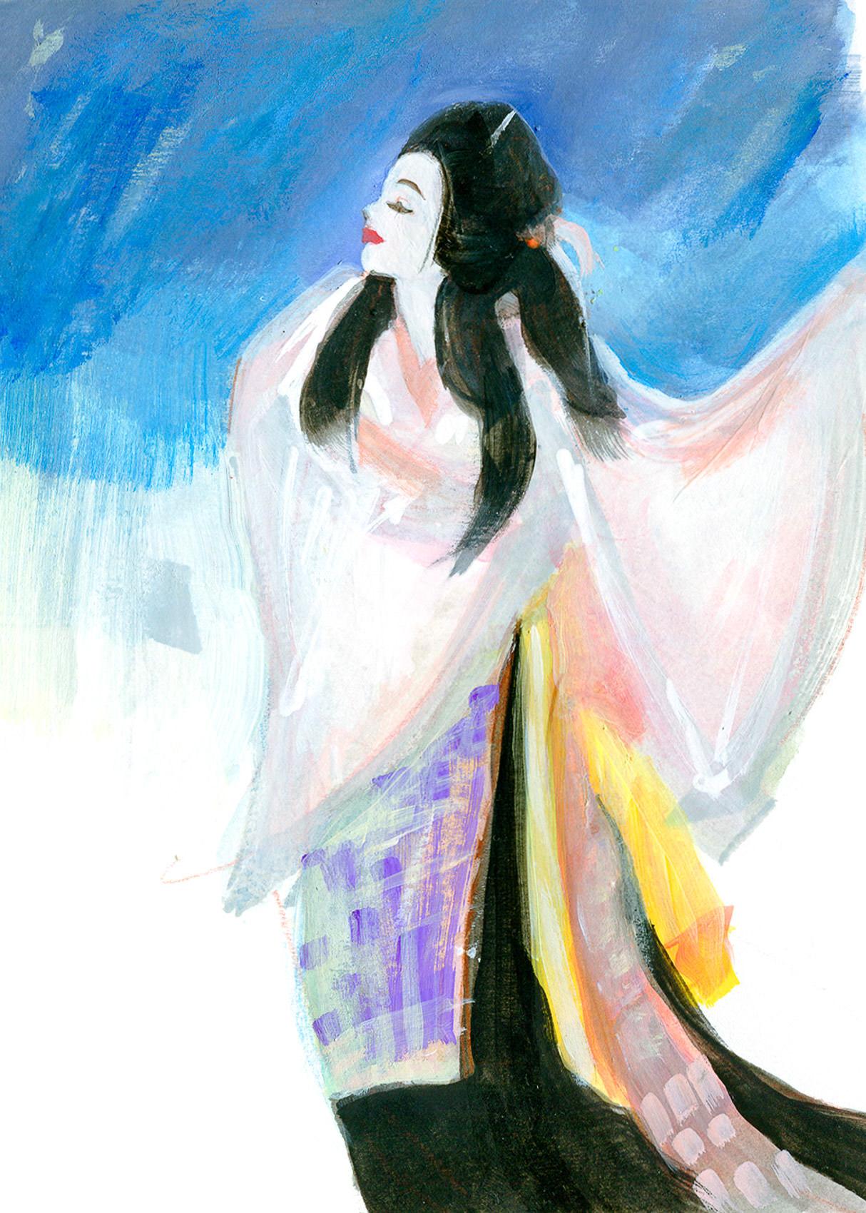 World Dance painted Illustration of Kabuki Yamanba, Japan