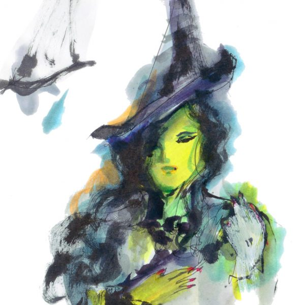 Ink illustrator of Elphaba from Wicked, the Musical. Illustrated By June Sees