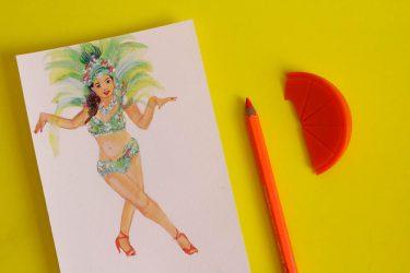 Art illustration giclee print of Brazilian Sassy sexy carnival dancer