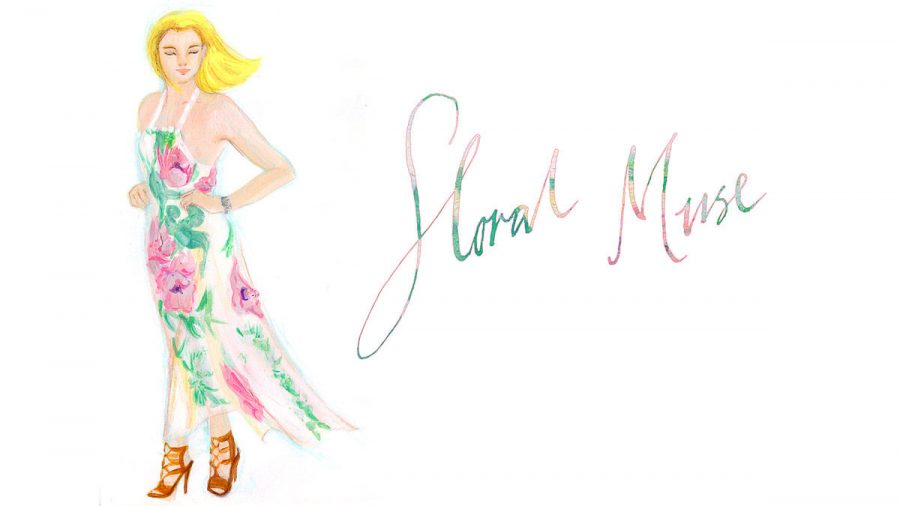 floral maxi dress June sees illustration for youtube video Fashion vlog, photo taken by June Chanpoomidole.