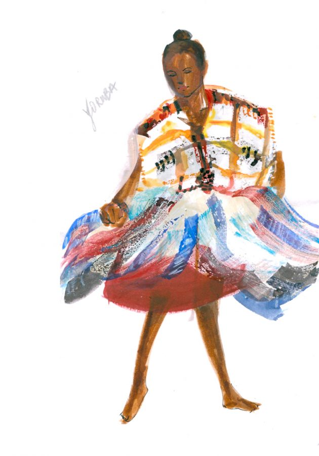 illustration of a Yoruba Nigerian African dancer, photo taken by June Chanpoomidole.