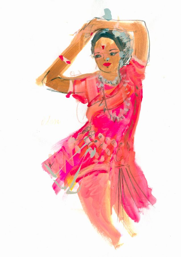 10 minute painted illustration of an Odissi Indian dancer, photo taken by June Chanpoomidole.